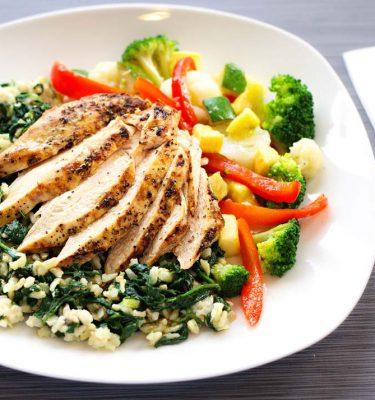 Lemon Chicken, Spinach Brown Rice, Veggie Medley