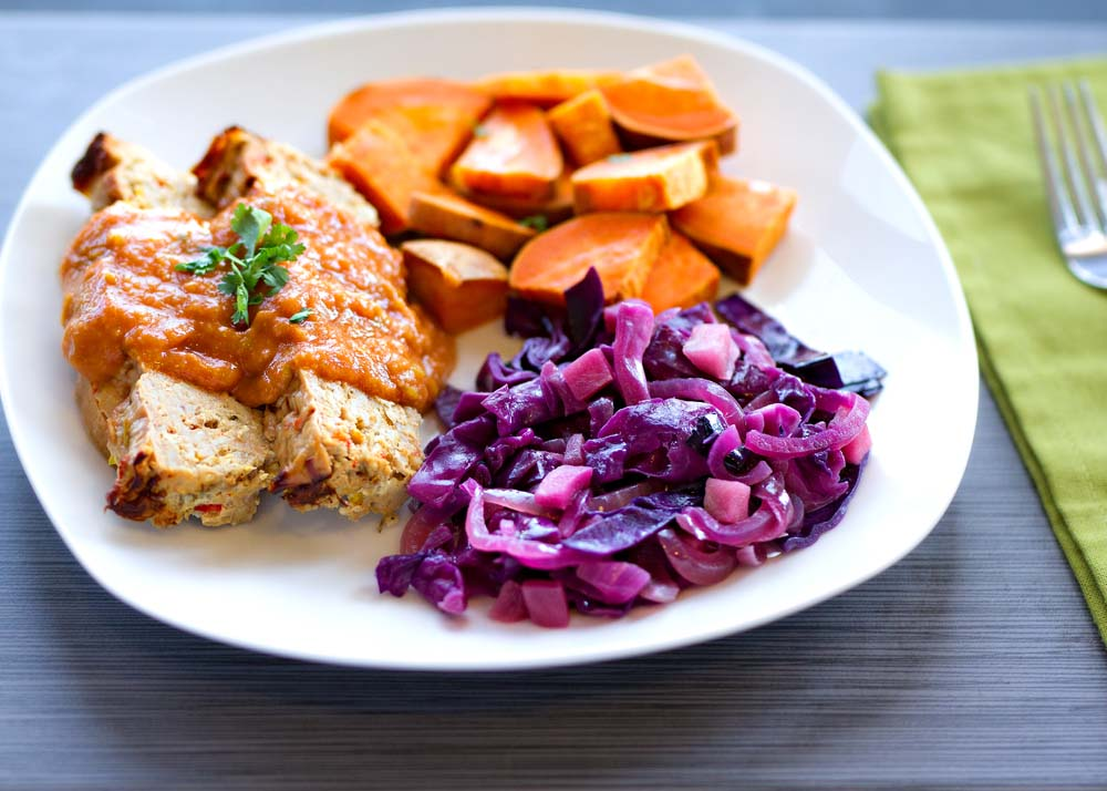 Turkey Loaf with Tomato Sauce, Red Cabbage, Sweet Potatoes