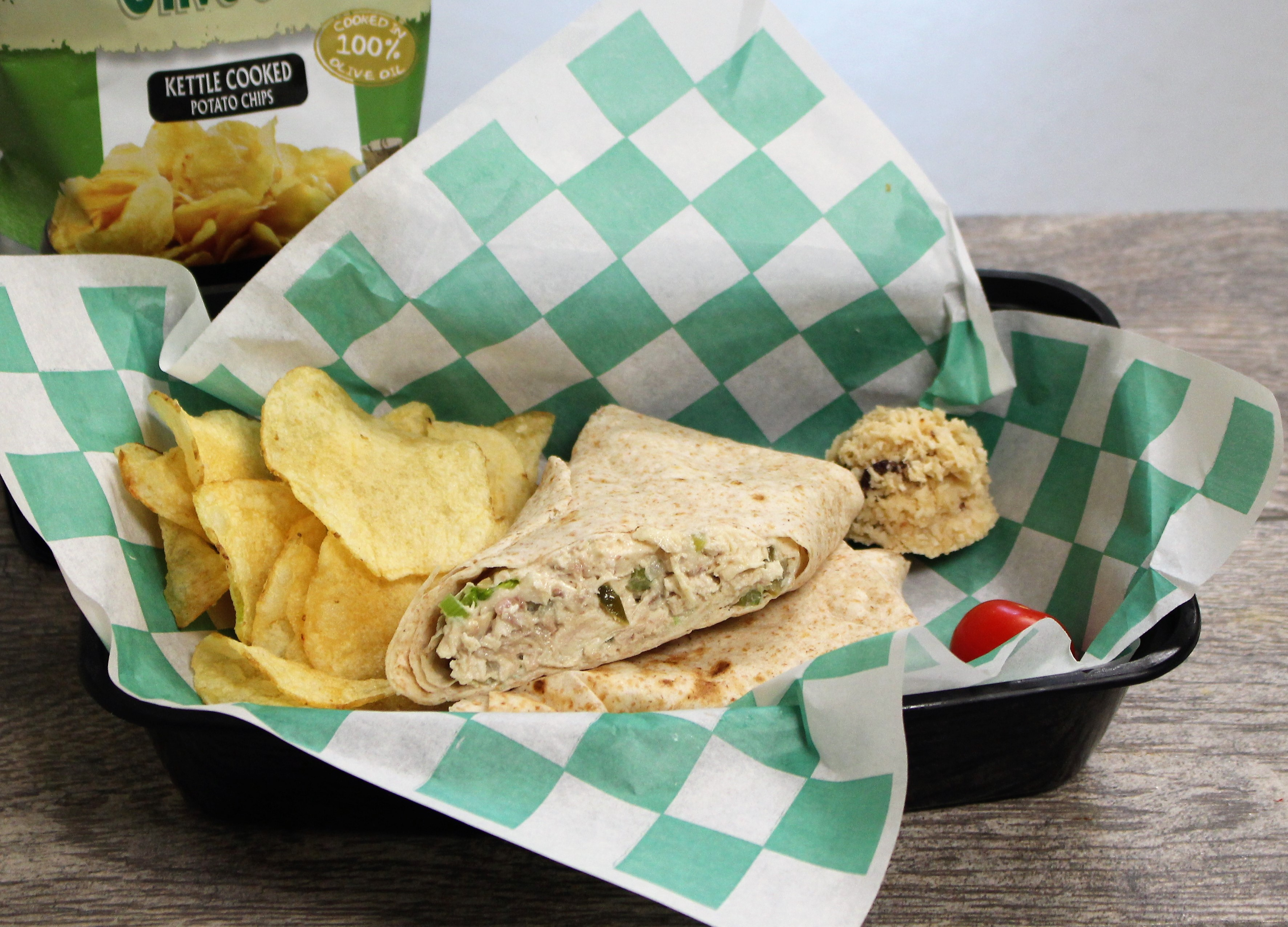Mom s chicken salad wrap with chips cuisine for healing for Cuisine for healing